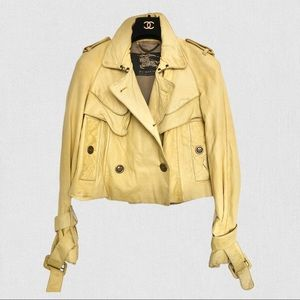 Burberry Prorsum yellow leather trench jacket S
